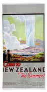 Come To New Zealand Vintage Travel Poster Bath Towel