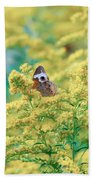Common Buckeye Butterfly Hides In The Goldenrod Bath Towel