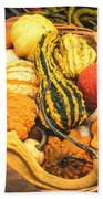 Composition Of Various Gourds In A Basket With Vignetting Bath Towel