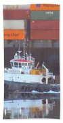 Container Ship And Tug Bath Towel