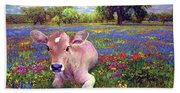 Contented Cow In Colorful Meadow Hand Towel