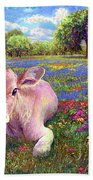 Contented Cow In Colorful Meadow Bath Towel