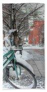 Copenhagen In The Winter.a Lonely Bike Bath Towel