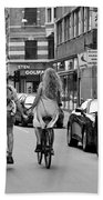 Copenhagen Lovers On Bicycles Bw Bath Towel