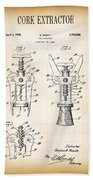 Cork Extractor Patent  1930 Bath Towel