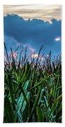 Corn And Clouds Panorama Bath Towel
