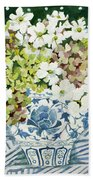 Cosmos And Hydrangeas In A Chinese Vase Bath Towel