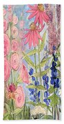 Cottage Flowers With Dragonfly Bath Towel