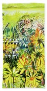 Cottage Gate Seen Through Sun Daisies Bath Towel