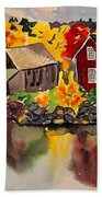 Cottages By A Lake In Autumn  Bath Towel