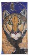 Cougar Medicine With Cobalt Blue Background Bath Towel