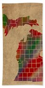 Counties Of Michigan Colorful Vibrant Watercolor State Map On Old Canvas Bath Towel
