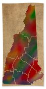 Counties Of New Hampshire Colorful Vibrant Watercolor State Map On Old Canvas Bath Towel