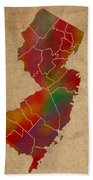 Counties Of New Jersey Colorful Vibrant Watercolor State Map On Old Canvas Bath Towel