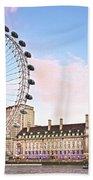 County Hall And London Eye Bath Towel