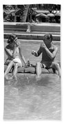 Couple Relaxing In Pool, C.1930-40s Bath Towel