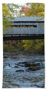 Covered Bridge Over Brown River Bath Towel