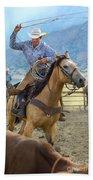 Cowboy Roping A Steer Bath Towel