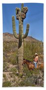 Cowgirl And The Crested Saguaro Bath Towel