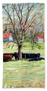 Cows Grazing In One Field  Hand Towel