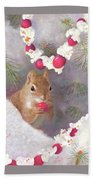 Cranberry Garlands Christmas Squirrel Bath Towel
