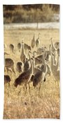 Cranes In The Morning Mist Bath Towel