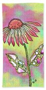 Crazy Flower With Funky Leaves Bath Towel