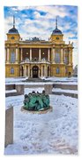 Croatian National Theater In Zagreb Winter View Bath Towel