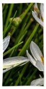 Crocus White Flowers Bath Towel