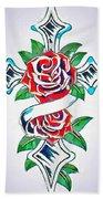 Cross And Roses Tattoo Bath Towel