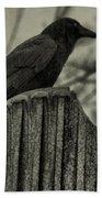 Crow Perched On A Old Column In Rain Bath Towel