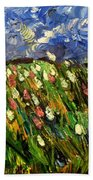 Crows Flying Over Tulips Hand Towel