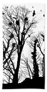 Crows Roost 1 - Black And White Bath Towel