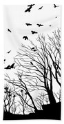 Crows Roost 2 - Black And White Bath Towel