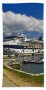 Cruise Ship In Bermuda Bath Towel