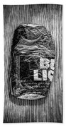 Crushed Blue Beer Can On Plywood 78 In Bw Bath Towel
