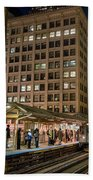Cta Pulls Into The State-lake Street Station Chicago Illinois Bath Towel