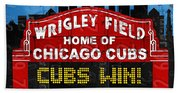 Cubs Win Wrigley Field Chicago Illinois Recycled Vintage License Plate Baseball Team Art Bath Towel