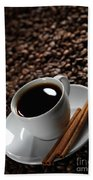 Cup Of Coffe On Coffee Beans Bath Towel