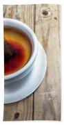 Cup Of Hot Tea On Wood Table Bath Towel