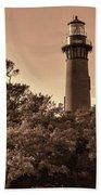 Currituck Beach Lighthouse - Sepia Bath Towel