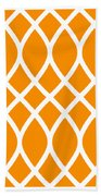 Curved Trellis With Border In Tangerine Bath Towel