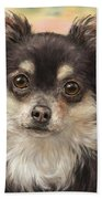 Cute Furry Brown And White Chihuahua On Orange Background Bath Towel