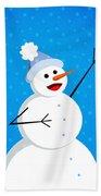 Cute Happy Snowman Bath Towel