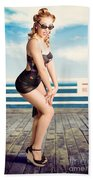 Cute Pinup Girl Looking Surprised On Beach Pier Bath Towel