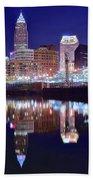 Cuyahoga Reflecting The City Above Bath Towel
