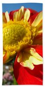 Dahlia Flower Art Prints Canvas Red Yellow Dahlias Baslee Troutman Bath Towel