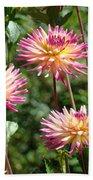 Dahlia Garden Floral Pink Yellow Botanical Landscape Baslee Troutman Bath Towel