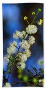 Dainty Wildflowers On Blue Bokeh By Kaye Menner Bath Towel