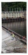 Dam Repairs  Along The Androscoggin River Bath Towel